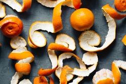 orange peel mandarin background. tangerines top view