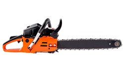 Orange petrol Chainsaw isolated on white background