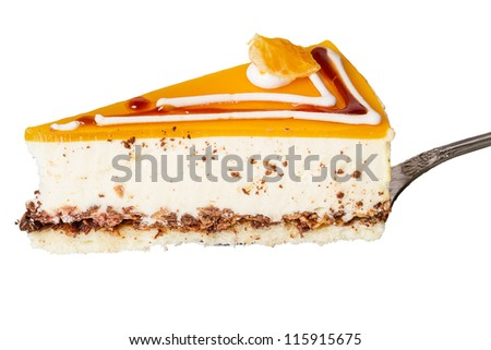 Orange piece of cake with nuts  isolated on white background