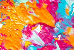 Orange, Pink, Blue Thick Paint Splats and Abstract Background