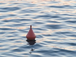 orange plastic buoy floating in calm dark  ocean water at sunset. The sunlight creates light and shadow in the water