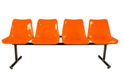 Orange plastic chairs isolated on white background