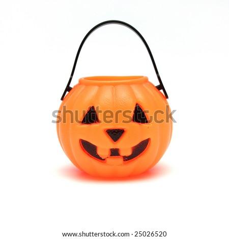 Orange Plastic Jack-O-Lantern on White Background