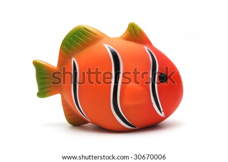 Orange Plastic Toy Clown Fish on White Background