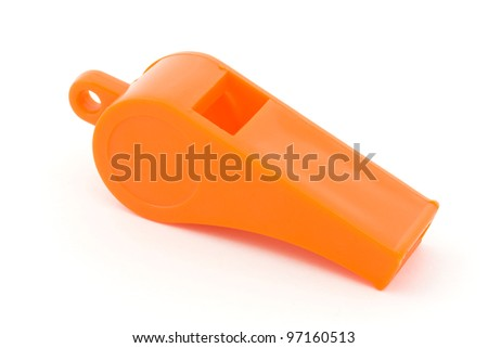 Orange plastic whistle over white