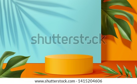 Orange podium stage with tropical plants in 3d illustration