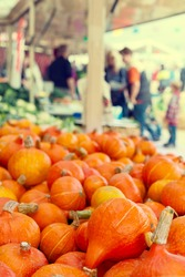 Orange pumkins at the market