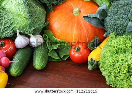 Orange pumpkin with other veggies, wallpaper, background