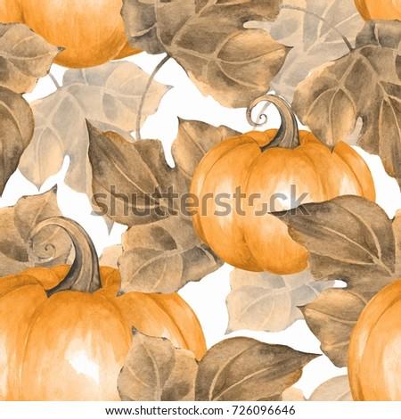 Orange pumpkins. Seamless pattern 2. Watercolor illustration