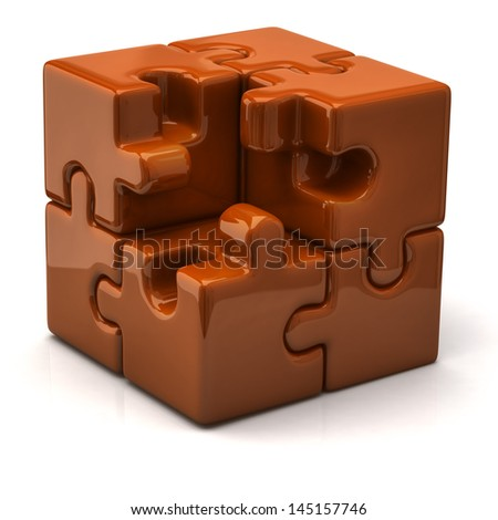 Orange puzzle cube without one piece