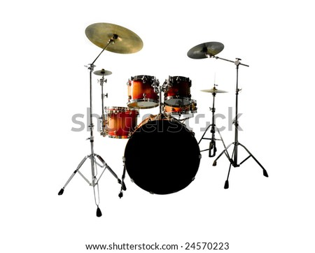 Orange red drum set isolated on white background