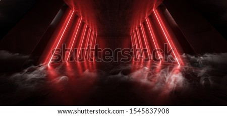 Orange Red Glowing Pylons Cement Concrete Hallway Tunnel Corridor Dark Underground Garage Gallery Stage Sci Fi Futuristic Modern Background 3D Rendering Illustration