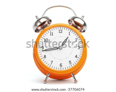 Orange Retro Clock isolated on white Background