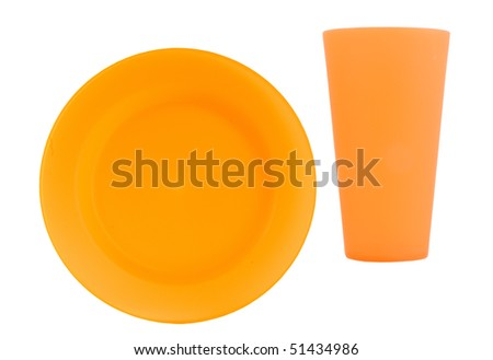 orange reusable plate with matching cup on a white background