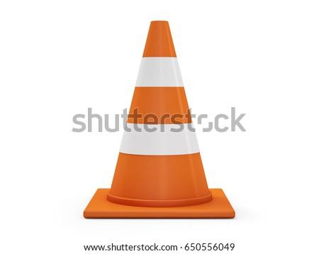 Orange road cones with stripes. 3D rendering