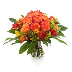 Orange Roses and Freesia flowers bouquet isolated on white.