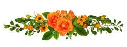 Orange roses and ornithogalum flowers in a floral arrangement isolated on white