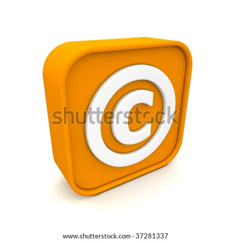 orange RSS like copyright symbol rendered in 3D isolated on white ground - angular view