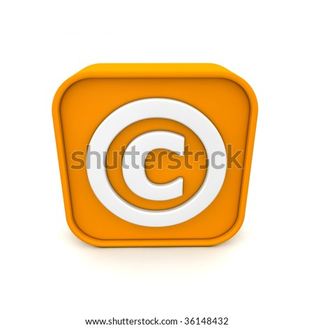 orange RSS like copyright symbol rendered in 3D isolated on white ground - front view