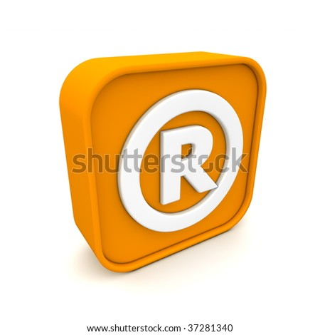 orange RSS like Registered Trademark symbol rendered in 3D isolated on white ground - angular view