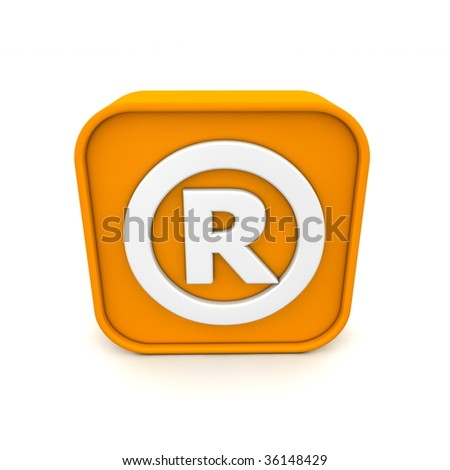 orange RSS like registered trademark symbol rendered in 3D isolated on white ground - front view
