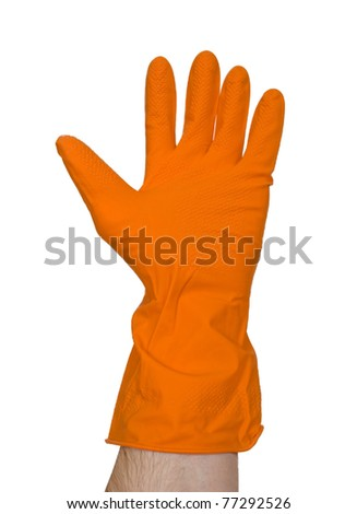 orange rubber glove wearing on the hand isolated on white background