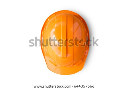 Orange safety engineer helmet on white background. top view for design