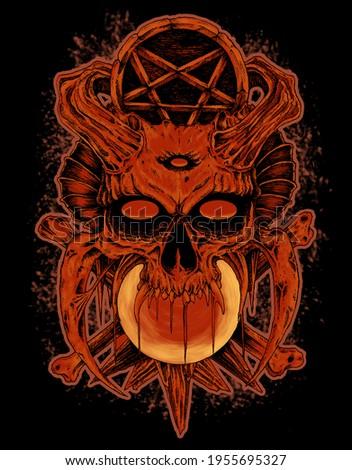 orange satanic skull manual drawing ストックフォト ©