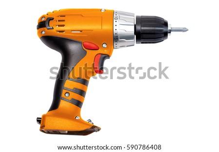 Orange screwdriver on a white background