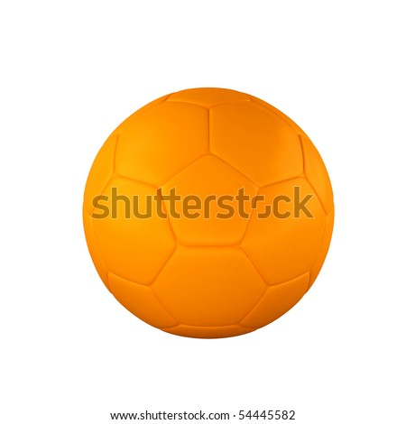 Orange shine soccer ball isolated on white background