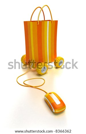 Orange shopping bag on wheels connected to a computer mouse