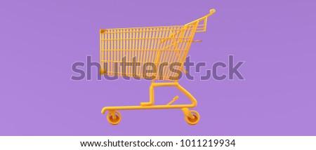 Orange shopping cart on purple background 3d render.