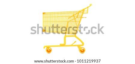 Orange shopping cart on white background 3d render.