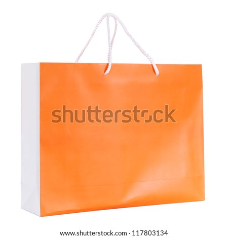 Orange shopping paper bag isolated on white with clipping path