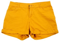 Orange shorts top view in isolation mock up closeup