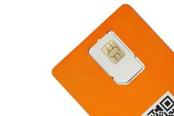 Orange sim card isolated on white background. Blank sim card