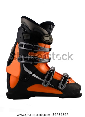 orange ski shoe isolated on white