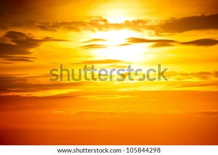 orange sky. sunset photo as background - stock photo