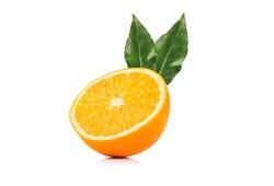 Orange slice and orange leaf isolated on white background