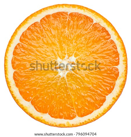 orange slice, clipping path, isolated on white background full depth of field