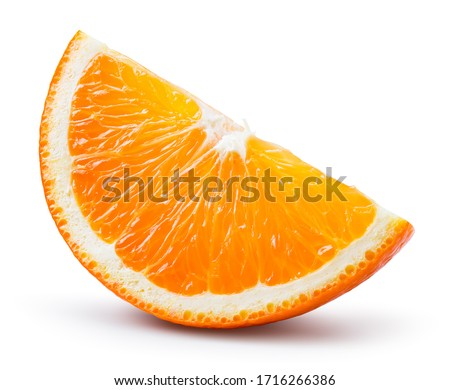 Orange slice isolated. Cut orange slice isolate. Orang slice on white with clipping path. Full depth of field.