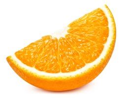 Orange slice isolated on white background. Orange citrus fruit clipping path. Orange macro studio photo