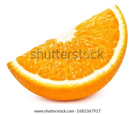Orange slice isolated on white background. Orange citrus fruit clipping path. Orange macro studio photo