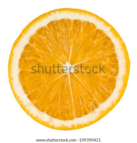 Orange slice isolated on white background with clipping path
