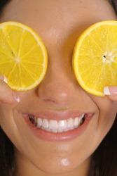 orange slice smile vertical upclose