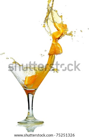 orange slice splash from glass