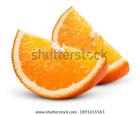 Orange slices isolated. Orang slice on white background. Orange fruit slices with zest isol. Clipping path.