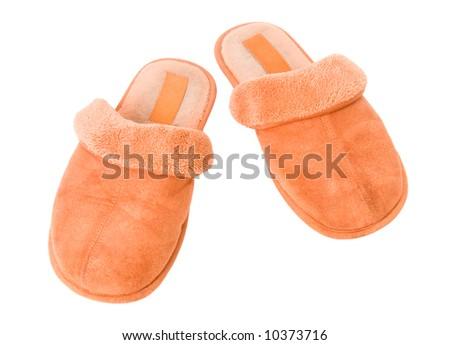 Orange slippers. Isolated on white.