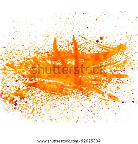 orange smear spot blob watercolor texture isolated