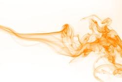 Orange smoke on white background